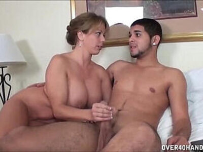 Naughty Milf Jerks Off A Naked Young Dude   -big cock-dude-naked-naughty-young-