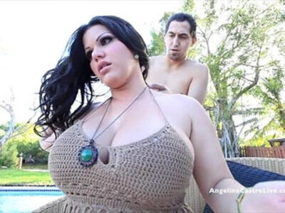 Big titted angelina castro blows the pool guy outdoors | -cum on tits-gay-outdoor-pool-titjob-