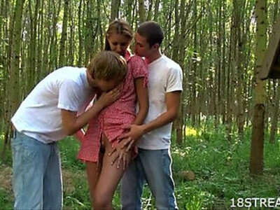 Outdoor threesome pleasuring   -3some-outdoor-students-