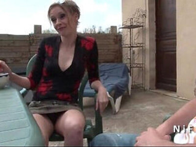 French mom seduces younger guy and gets sodomized outdoor | -french-gay-old and young-outdoor-seduction-son-