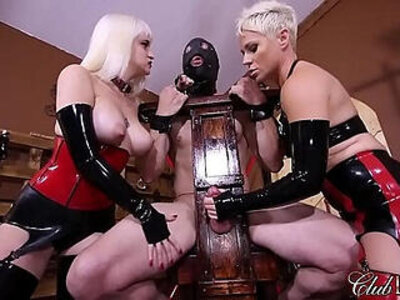 ClubDom Mistress Whip And Cane Before Milking | -latex-milk-mistress-whip-
