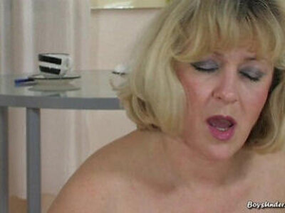 Blonde mature mom with young boy   -blonde-boy-granny-young-