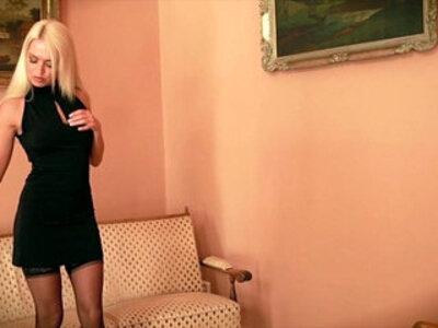 Blonde Babe Lena G Finger Bangs Her Pussy Black stockings heels   -banged-black-blonde-closeup-fingering-heels-