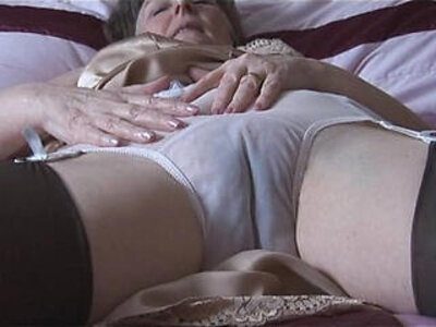 Hairy granny in slip and stockings with see thru panties strips | -granny-hairy-panties-stockings-