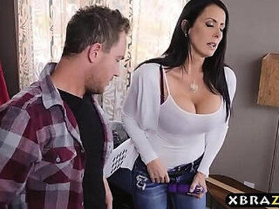 Stepmom with big tits fucks stepson while dad is downstairs | -big tits-daddy-stepmom-stepson-