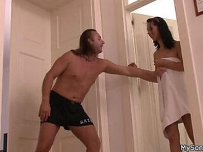 Old father forces younger brunette into sex | -brunette-father-old and young-old man-older-