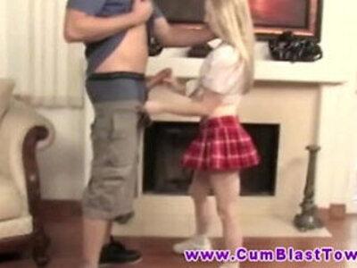 Blonde cumshot loving petite MILF jerks dude off | -blonde-bukkake-cumshots-dude-petite-