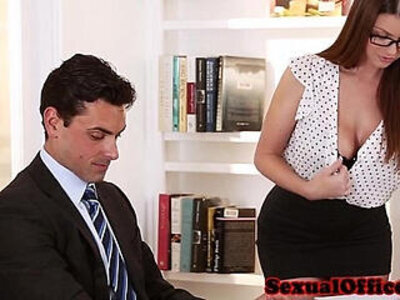 Busty secretary getting fucked on table | -busty-glasses-secretary-table-