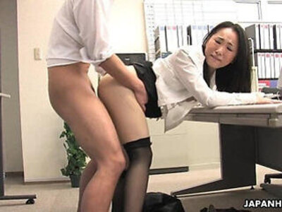 Asian lady shagged by two coworkers in her office | -asian-lady-office-