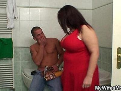 Huge natural big boobs mother inlaw helps him cum | -big boobs-cum-forced-mother-natural-natural tits-