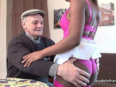 Black slut in lingerie hard fucked in threeway with Papy voyeur | -ass fucking-black-european-hardcore-lingerie-sluts-