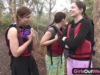 Hairy amateur girl fingered in rafting threesome | -3some-girl-hairy-
