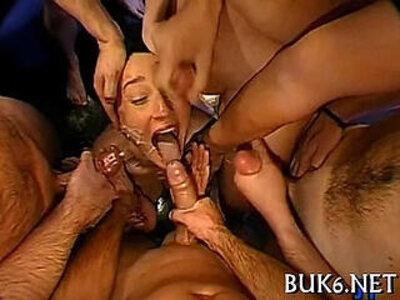 Maid receives gang team fuck session | -bukkake-maid-