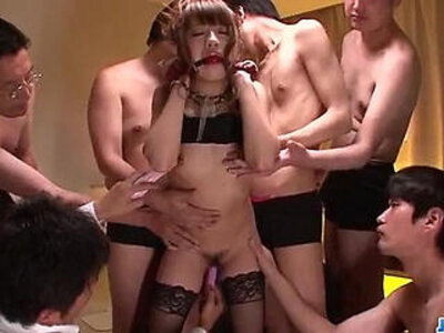 Superb gangbang with obedient Hazuki Okita | -cum on tits-gangbang-