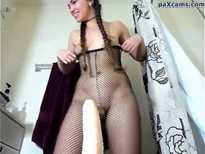 Lovely but plugged girl in fishnets rides dildo | -camshow-dildo-fishnets-girl-lovely-