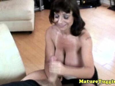 Busty granny giving tugjob | -busty-cougar-