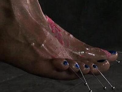 BDSM sub Nikki Darling feet pierced | -bdsm-foot-piercing-