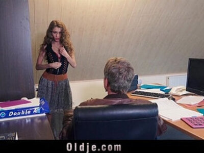 Sexy young secretary blackmails her old boss for dirty fuck facial | -boss-dirty-facials-older-secretary-sexy-