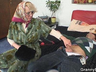 Lonely 60 years old granny pleases a stranger   -granny-older-stranger-