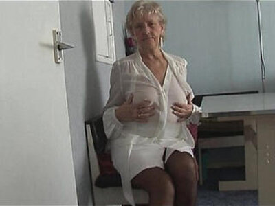 Attractive Granny in short skirt panty teases showing off plump pussy lips | -amateur-granny-panties-plump-pussy-skirt-