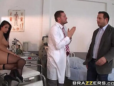 Doctor in sex Adventures Milgrams Experiment scene starring Melissa Ria and Yanick Shaft | -doctor-nurse-old man-