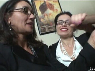 Double Milf Stroking | -double-glasses-milf-stroking-