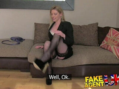 FakeAgentUK Stocking clad posh MILF willing to try it all on the casting couch | -casting-couch-milf-stockings-woman-