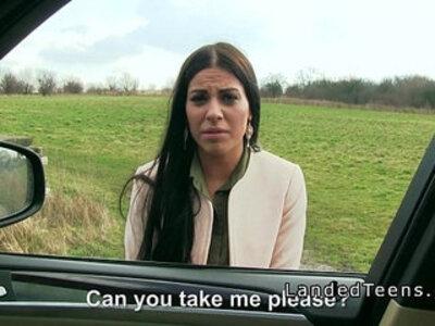 Teen bangs in strangers car | -banged-car-hitchhikers-teen-