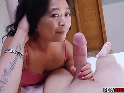 Asian cougar mature stepmom knows what is best for him | -asian-cougar-stepmom-stepson-