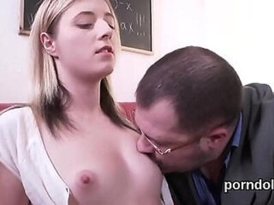 Innocent schoolgirl is seduced and poked by her elderly mentor | -classroom-innocent-school girl-seduction-