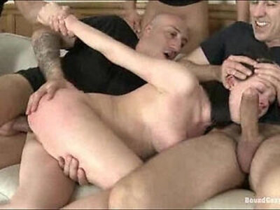 Hottie finds herself bound and helpless with cocks in every hole | -cock-gangbang-hottie-