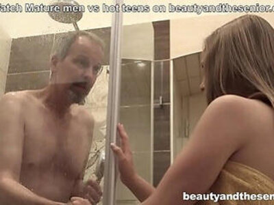 Horny niece finds her uncle in the shower and fucks hard | -horny-old and young-shower-uncle-