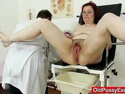 Hairy grandma enema during a medical exam | -doctor-grandma-hairy-
