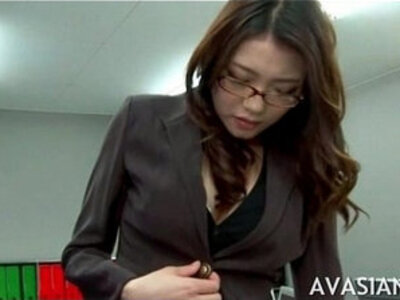Stressed out asian secretary toy fingered in the office | -asian-glasses-office-secretary-toys-