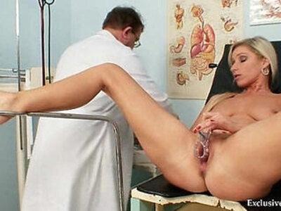 Foxy blond girl Leona vagina gyno checkup | -blonde-vagina-