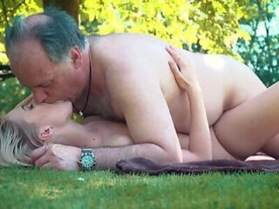 Petite teen gets fucked hard by grandpa on a picnic she blows and swallows him   -grandpa-petite-swallow-