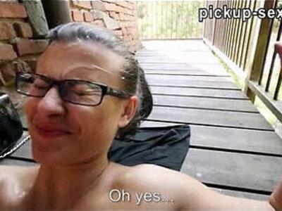 Amateur banged in public location then cum on glasses   -amateur-banged-cum-cum on tits-glasses-public-