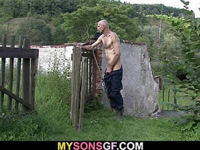 Horny GF cheats with her BFs dad   -daddy-grandma-horny-outdoor-