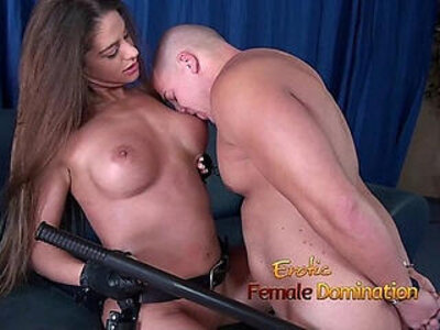 Girl in police uniform regulating a guy by making him lick pussy | -gay-girl-licking-officer-pussy-uniform-