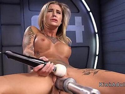 Stunning blonde milf gets an orgasm on fucking machine | -blonde-orgasm-sex machine-stunning-