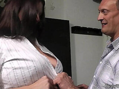 Boss bangs brunette fatty in fishnets from behind | -ass fucking-banged-boss-brunette-cash-fishnets-