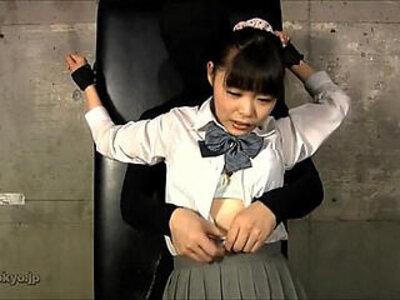 JAPANESE SCHOOL GIRL OILED TICKLED | -japanese-oil-school girl-