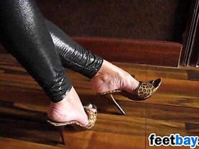 Teasing Her Feet In Exotic High Heels | -exotic-foot-high heels-teasing-