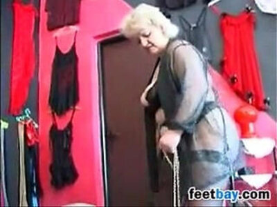 Granny Gets Feet Worshipped By A Slave | -foot-grandma-granny-slave-