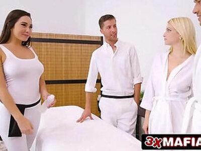 Super Hot Masseuse Karlee Grey Fucking Lucky Dude While Wife Sleeping   -dude-massage-sleeping-wife-