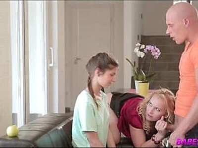 Blonde MILF and skinny daughter | -blonde-daughter-skinny-stepmom-