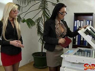 Office Lesbians Go At It   -glasses-lesbian-office-