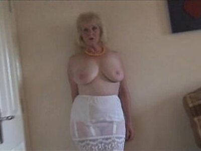Mature lady in stockings and sheer slip strips | -busty-lady-mature-shaved-stockings-